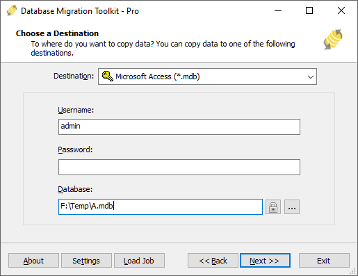 Migrating data from IBM DB2 to MS Access(* mdb